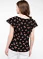 DeFacto Kat Volan Detaylı Çiçek Desenli Bluz Siyah